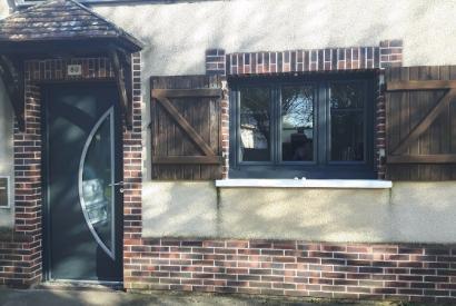 Porte d'entrée acier gris anthracite